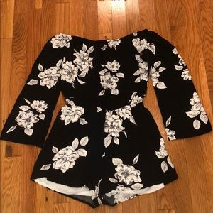 Boutique floral off-the-shoulder romper